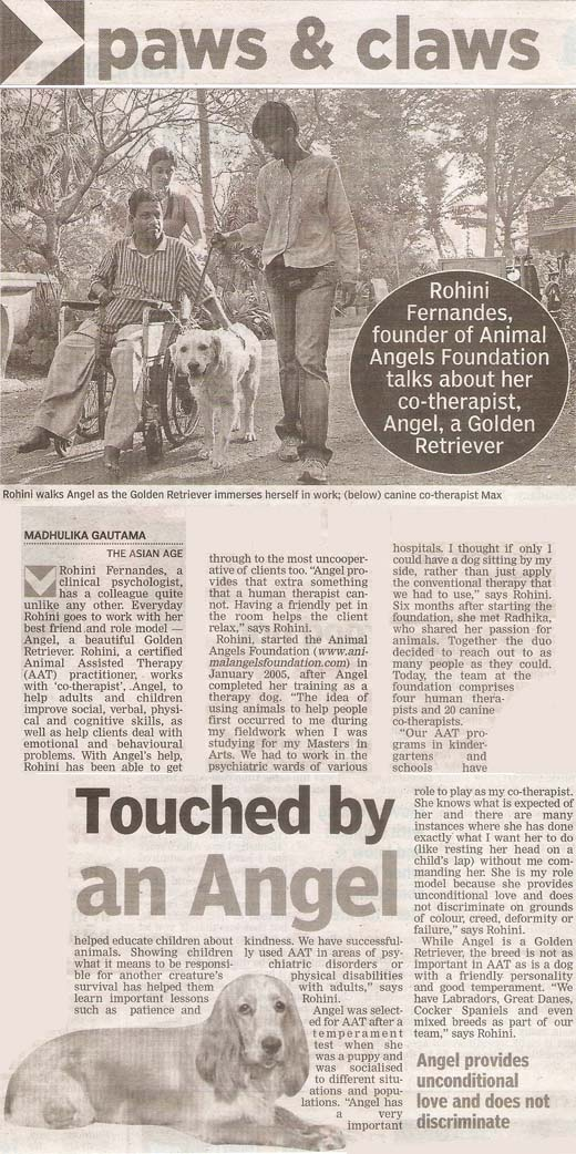 Animal Angels Foundation featured in The Asian Age - January 2012