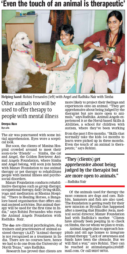 DNA article on Animal Angels Foundation - April 4, 2006