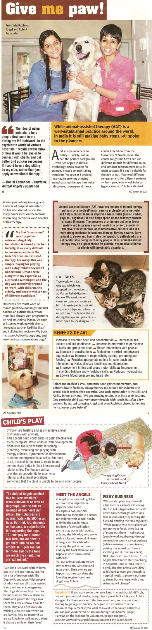 DNA mE article on Animal Angels Foundation - August 26, 2007