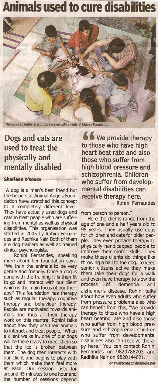 DNA westcoast article on Animal Angels Foundation - Animals used to cure disabilities by Sharleen D'Souza on April 19, 2008