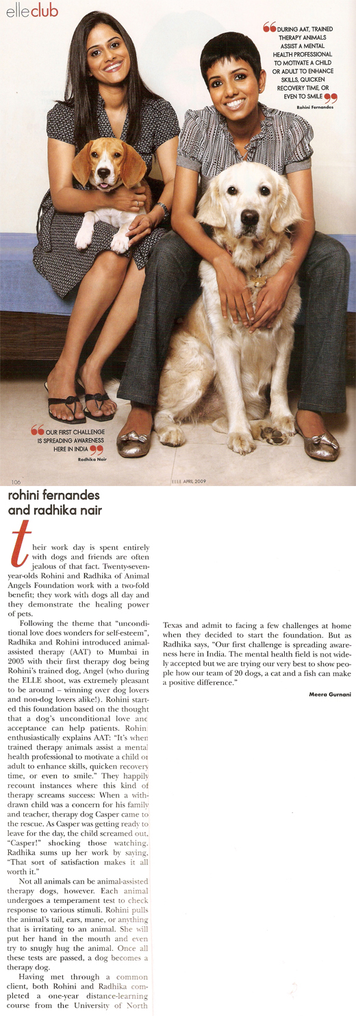 Animal Angels Foundation featured in Elle - April 2009